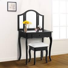 costway black tri folding mirror vanity makeup table set bathroom
