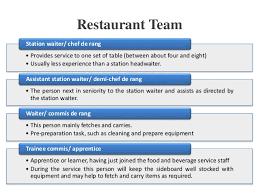 commis de cuisine d馭inition hospitality food beverage service