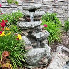 Rock Garden With Water Feature 34 Slick Rock Waterfall Led Lights Garden Outdoor