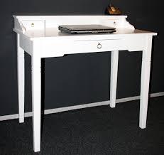 Holz Schreibtisch Sekretär 100x91x57cm 1 2 Schubladen Pappel Massiv Weiß Lackiert
