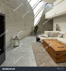 Modern House Living Room Beautiful Modern House Cement Interior Living Stock Photo