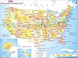 map showing states and capitals of usa map of usa and canada with states and cities major
