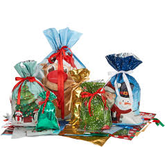 gift wrap bags kringle express 60pc easy drawstring gift bags tags page 1 qvc