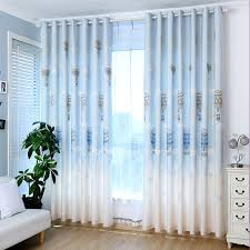 Blue Nursery Curtains Natural Quality Linen Cotton Blend Fabric Balloon Pattern Sky Blue