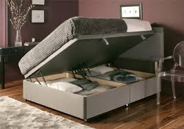 King Size Bed With Storage Underneath Furniture Espresso Stained Solid Wood Bed Frame With Storage And