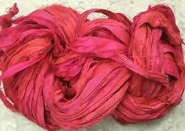 sari silk ribbon sari silk ribbon yarn 60 yds hot pink fair trade trim