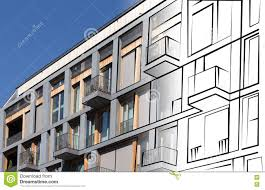 conceptmodern real estate concept modern building facade drawing stock