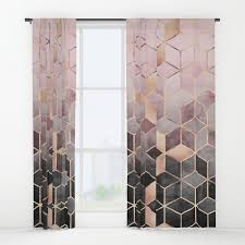 Pink And Grey Curtains Pink And Grey Gradient Cubes Window Curtains By