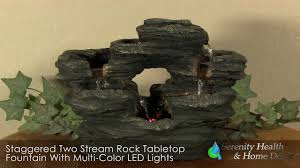 Home Decor Fountain Staggered Two Stream Rock Tabletop Fountain With Multi Color Led