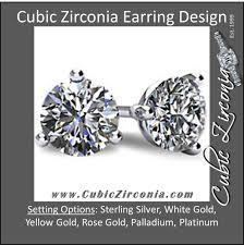 cubic zirconia earrings cubic zirconia earrings customizable 3 prong cz stud
