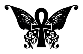 silhouette ankh with butterfly wings stencil