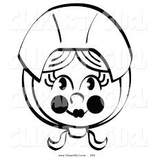 clip art of a black and white coloring page of a pretty female