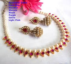 real pink pearl necklace images Buy dark pink pearl necklace set online JPG