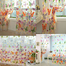 Butterfly Lace Curtains 200 X 90cm Floral Butterfly Sheer Curtains Sheers Voile Tulle