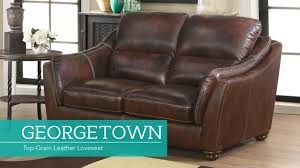 georgetown top grain leather loveseat video gallery