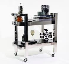 drink table bar nickel plated drink trolley with black glass the cool hunter