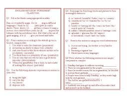 class viii english grammar wsheet
