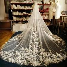 wedding accessories store ivory white bridal veil 2017 new arrived flowers 3m length