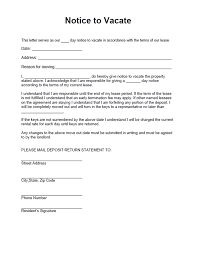 Tenant Reference Letter From Landlord Notice To Vacate Form Free Form For A Residential Landlord Notice