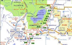 map of zion national park hurricane utah map