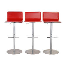 Adjustable Bar Stools 90 Off Trabaldo Trabaldo Italian Red Leather Adjustable Bar