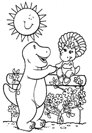 barney and baby bop at the flower garden colouring page happy