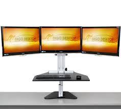Three Monitor Desk Three Monitor Solutions Adjustable Height Desk Ergo Desktop