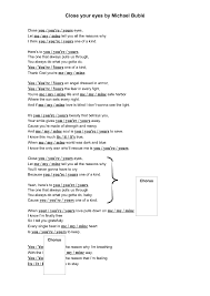 worksheet close your eyes by michael bublé