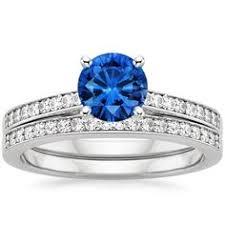 hudson wedding band blue sapphire contoured luxe hudson wedding ring set 18k white gold