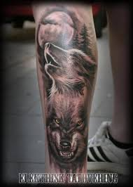 leg wolf moon by elektrisk tatovering
