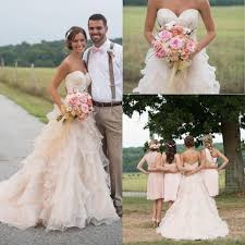 discount blush pink wedding dresses 2016 country style lace