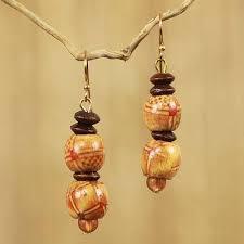 eco friendly earrings handmade eco friendly wood bead earrings peace novica