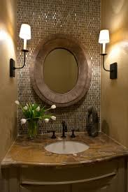cream wall paint of bathroom idea feat mosaic tiles backsplash and