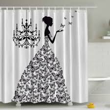 Black And White Vertical Striped Shower Curtain Black Shower Curtains You U0027ll Love Wayfair