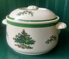 spode christmas tree imperial cookware casserole round dish bowl