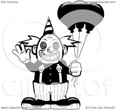 cartoon clipart of a black and white scary clown waving and