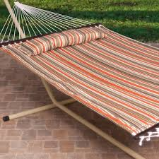 vivere double fabric double hammock with steel stand hayneedle