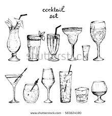 set sketch cocktails alcohol drinks vector stock vector 638073988