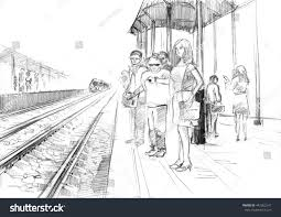 pencil drawing railway station passengers waiting stock
