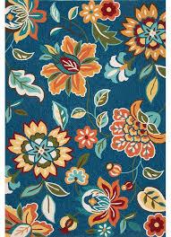 Orange And Blue Area Rugs Blossom Botanic Bsm04 Saxony Blue Area Rug