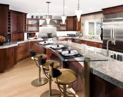recycled countertops kitchen island dining table combo lighting