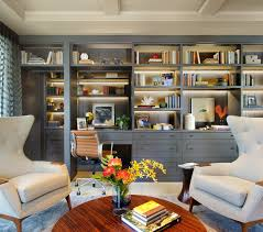 home office design books wall units with desk table chairs carpet curtain shelves books