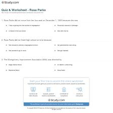 quiz u0026 worksheet rosa parks study com