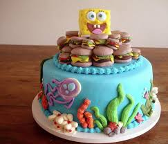 spongebob squarepants cake spongebob squarepants cake with crabby patties and marine jpg