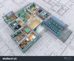 crosssection residential house 3d image stock illustration