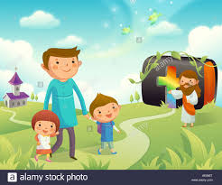 father walking with his children and jesus christ gesturing