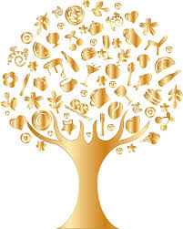 clipart gold abstract tree no background