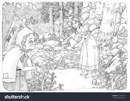 coloring page cartoon fairy tale illustration stock illustration