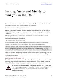 ideas of family invitation letter for uk visa sample on cover