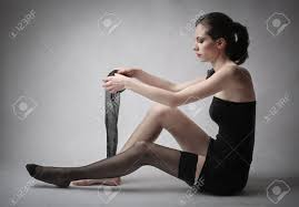young woman wearing stockings stock photo picture and royalty